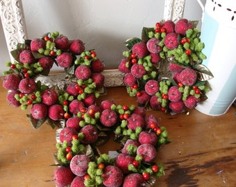 Christmas candle ring wreath glittered sugared fruit apples and berries red and green christmas centerpiece table decor mini wreath