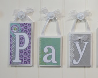 Hanging Mint, Gray, and Lavender Name Block Letters - Personalized Baby Girl Nursery Decor wood sign baby name block letters