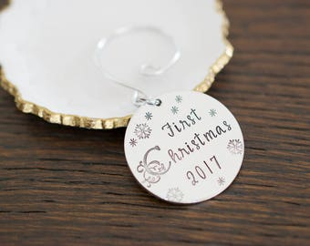 First Christmas Ornament - 2017 Christmas Ornament - Custom Hand Stamped Ornament
