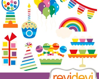 Rainbow Party clipart / candy shoppe, lollipops, cupcakes, balloons, rainbow clip art / commercial use, instant download