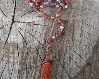 Red Jasper Rosary Style Wirewrapped Necklace