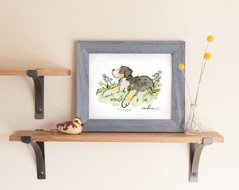 Bernese Mountain Dog Print, Bernese Nursery Print, Bernese Illustration,  Bernese Watercolor Kids Puppy Art, Nursery Wall Art Children's Art