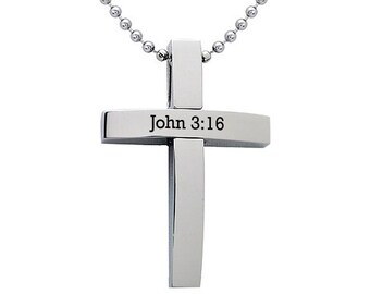 Personalized Cross Necklace, Stainless Steel Cross Pendant,  Cross Pendant with Bead Chain Necklace SHJSSN151