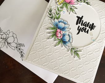 Handmade Card, Stamped Card, Hand Colored Card, Custom Card, Thank You Card, Birthday Card, Hello Card, Friendship Card