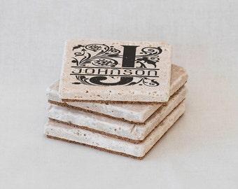 Custom Drink Coasters, Last Name Coasters, Personalized Tile Coaster Set of 4 Natural Stone Monogrammed Coasters, Wedding Gift, Housewarming
