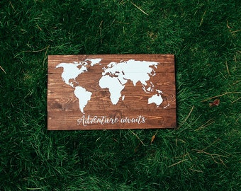World map with custom quote, wooden world map, travel the world, scripture quote sign, wedding gift, custom map, pallet wooden map, world
