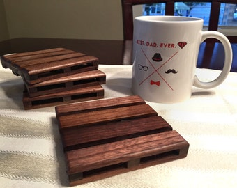 4 Black Walnut Beverage Pallet Drink Coasters - Give the BEST Dad Ever the best gift ever this Fathers Day!
