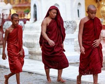 3 Buddhist Monks under Rain, Myanmar Photography, Monk Photography, Monks Print Art, Buddhism Wall Art, Buddhism Print, Vertical Wall Art