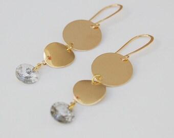 Swarovski crystal earrings - gold filled disc earrings - minimalist earrings - dainty earrings - dangle earrings - wedding jewellery