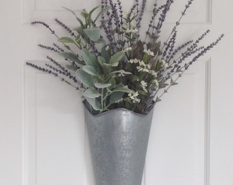 Artificial lavender arrangement in a galvanized cone planter wall pocket artificial flowers French country shabby chic floral arrangement