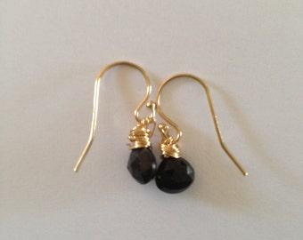 Green black Tourmaline Gold Fill Earrings, Etsy jewelry, Lilyb444