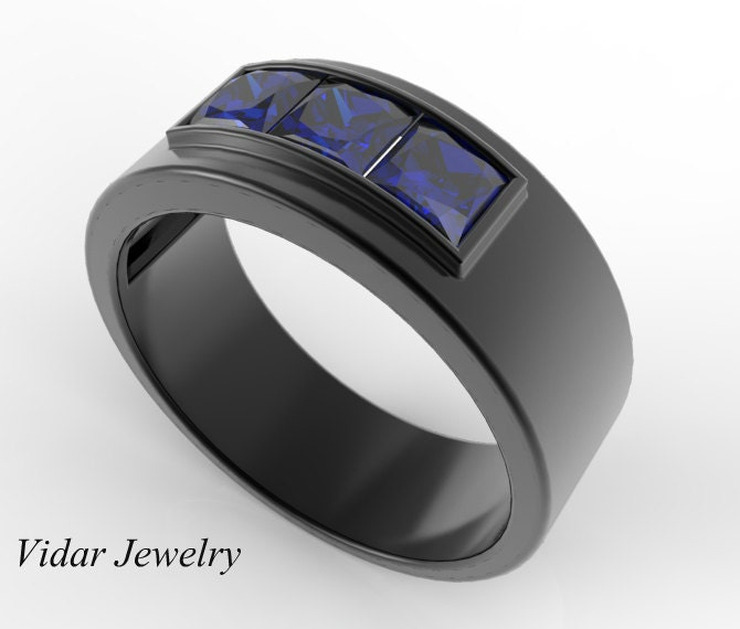 zoom - Mens Sapphire Wedding Rings