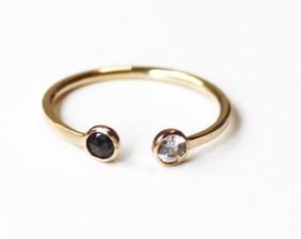 Black and White diamond cuff ring