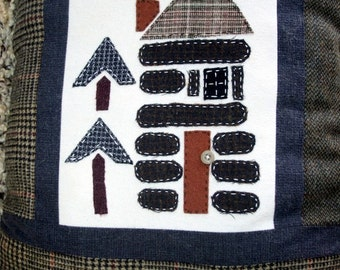Log Cabin Pillow Wool Accent Lodge Decor Upcycled eco friendly