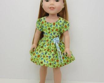 14 inch doll clothes -  Cute light green  flowered short sleeve  dress and headband.