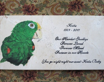 Pet Memorial Original Hand Painted on Marble 12 x 6 inches Made to Order Parrot or Any Animal by Shannon Ivins