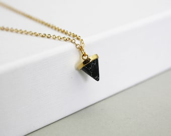 Black marble cone-gilded necklace