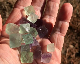 Set of FIVE Medium Natural Fluorite Octahedron  - Lovely Clear Colors! FLO-5 - Sacred Geometry - Crystal Grids - Mojo or Medicine Bags