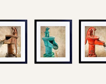 SALE Bathroom Decor, Water Pump Photographs, Set of 3, Retro, Rustic, Brown, Teal, Red, Black & White, Laundry Room Art,  Kitchen Decor