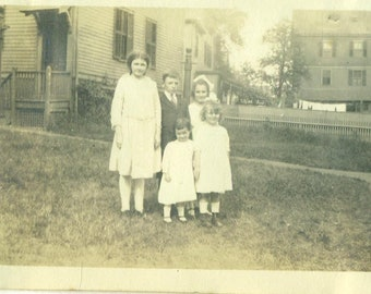 1920s Children Girls Boys Siblings Family Standing Outside Town Houses 20s Antique Vintage Photograph Black White Photo