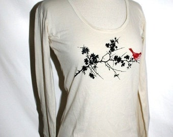 Natural Organic Sakura and Red Bird Top