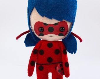 Ladybug - poseable plush from Miraculous Ladybug - handmade doll