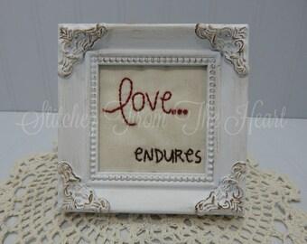 Christian Decor - Love Endures - Christian Stitchery - Christian Gift - Christian Framed Art - Religious - French Country Decor