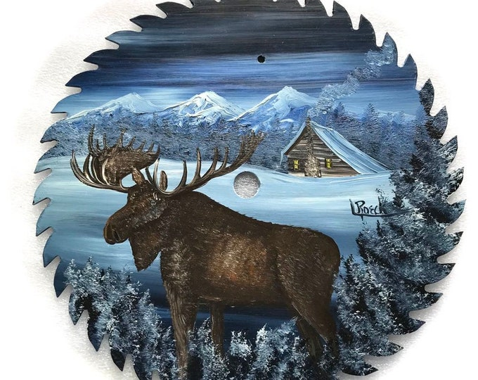 Hand Painted Saw Blade Mountain Winter Moose Log Cabin 10 1/4 inch Real Saw Blade