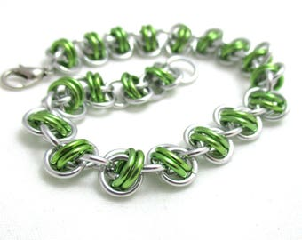Lime Green Barrels Chainmaille Bracelet - Lime Green Chain Maille Bracelet - Chain Bracelet