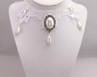 White Pearl Victorian Lace Choker,  Wedding Necklace, Collar Necklace, Victorian Jewelry, Pearl Statement Necklace