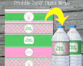 Tennis Birthday Party | Water Bottle Labels | Printable tennis party printables | Girls | Pink green argyle |  Instant Download