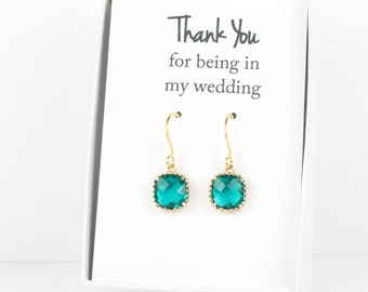 Teal Gold Earrings, Gold Teal Blue Square Earrings, December Gold Earrings, Bridesmaid Jewelry, Teal Wedding Jewelry, Teal Blue Earrings