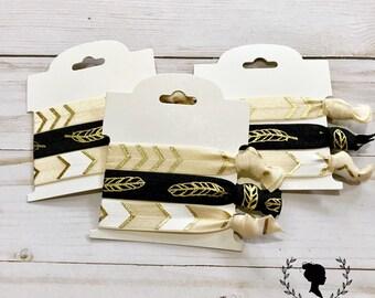 Cream and Black Hair Tie Set