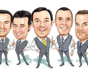 3 person Groomsmen or Bridesmaids gift caricature art by Harry. Hand produced and digitally delivered. More people options available