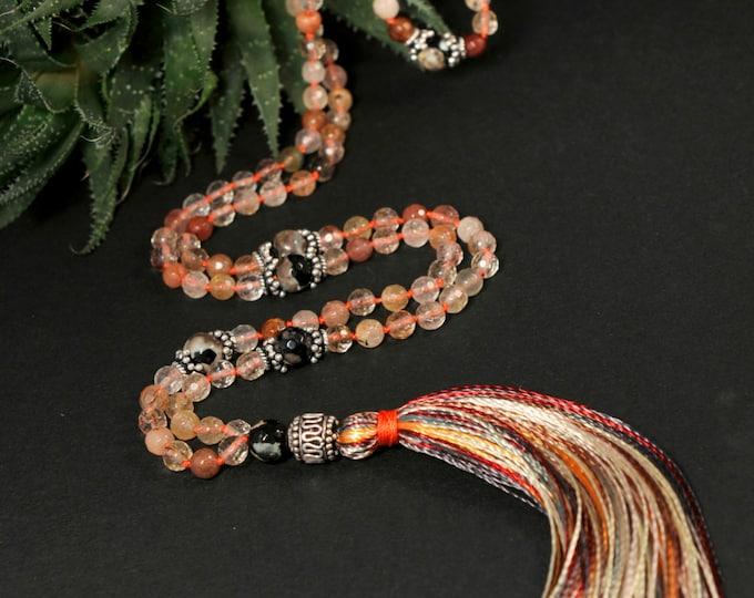 Rutile & Agate Tiger Mala Necklace Boho Style. Yoga. Meditation. Ideas for her. Boho Jewelry. Bohemian Necklace. Tassel Necklace