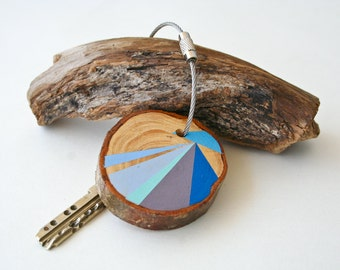 Pine wood keychain with stainless steel cable wire option of iyour initial, baby blue, blue, purple geometric triangle shapes keyring