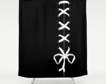 Black Laced Shower Curtain, White Ribbon Bathroom Decor, Modern Home Decor,  Feminine Shower