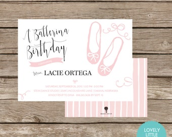 DIY Printable Ballerina, Ballet Themed, Birthday Invitation