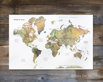 Large wall map etsy watercolor world map hand lettered map fine art map large wall map gumiabroncs Gallery
