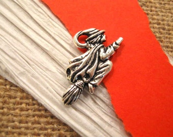 Britannia Pewter Witch Charm in Antique Fine Silver from Terracast
