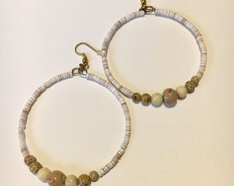 Latte Flower and Brown Lip Shell Bead Hoops