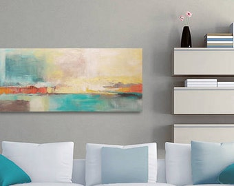 Abstract Landscape Painting, Abstract Canvas Art, Original Artwork, Turquoise Painting, Yellow Painting, Acrylic Painting Canvas Art