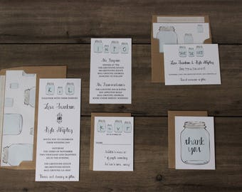 Wedding Invitation // Mason Jar // Rustic & Modern // Outdoor or Country Wedding // Sample Only