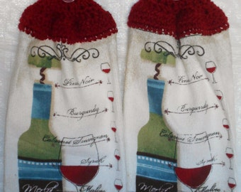 Set of Red Wine Kitchen Towels