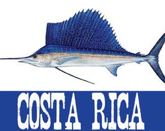 Vintage Style   Costa Rica 1950's  Offshore Fishing Sailfish  Travel Decal sticker
