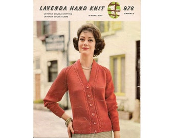 Lavenda Hand Knit 978 - Lady's Cardigan Knitting Pattern (Pdf format)