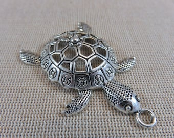 Turtle, tortoise color metal large pendant silver pendant, turtle 57mm animal charm, turtle, starfish, creating jewelry, necklace