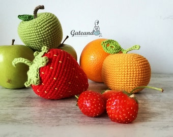 Pack 3 Fruits amigurumi. Crochet. Toy. Kitchen. Picnic. Rattle. Decoration.
