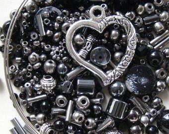 KIT Antique Silver Hematite Black Open Heart Wrap Memory Wire Bracelet KIT