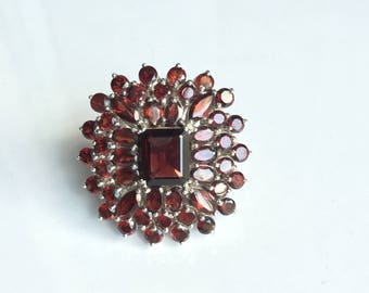 AAA quality natural red garnet cocktail ring in 925 sterling silver